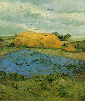 Vincent van Gogh Haystacks under a Rainy Sky