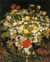 Vincent van Gogh Little chrysanthemums and other flowers in a vase