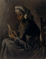 Vincent van Gogh - Peasant woman, peeling potatoes, three-quarter length
