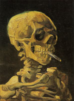 Vincent van Gogh Skull with a burning cigarette between the teeth