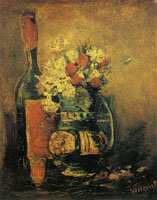 Vincent van Gogh Vase with carnations and bottle