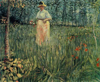 Vincent van Gogh Woman Walking in a Garden