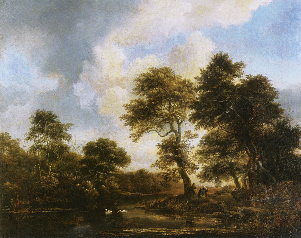 Jacob van Ruisdael - Forest Lake with Two Swans