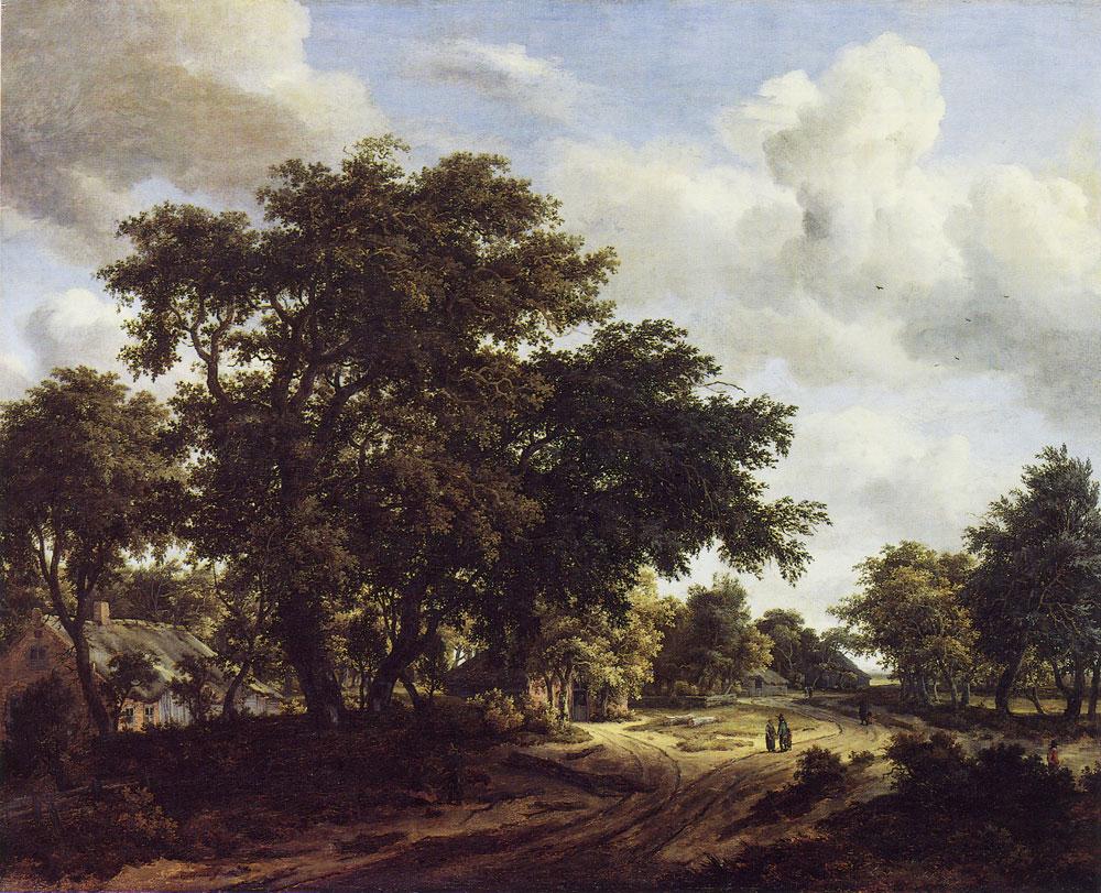 Meindert hobbema wooded road in a landscape for Find a landscaper