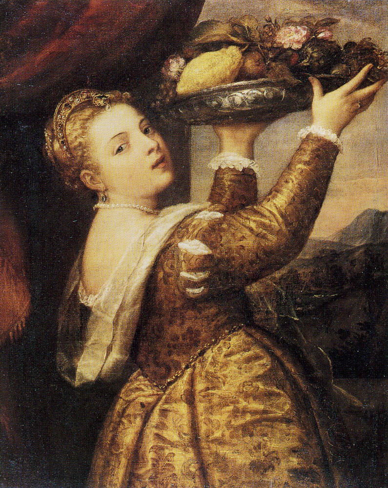 Titian - Woman with a Fruit Bowl