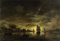 Aert van der Neer River landscape by moonlight