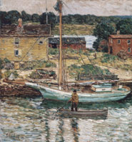 Childe Hassam Oyster Sloop, Cos Cob