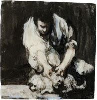Francisco Goya Man Picking Fleas from a Little Dog