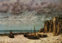 Gustave Courbet Boats on a beach, Étretat