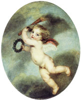 Ascribed to Jean-Baptiste Greuze Flying Cupid with a Torch