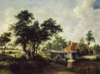 Meindert Hobbema The Watermill with the Great Red Roof