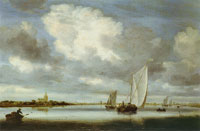 Salomon van Ruysdael Dutch canal with ships
