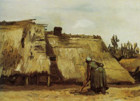 Vincent van Gogh Cottage with woman digging