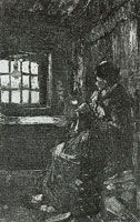 Vincent van Gogh Interior with peasant woman sewing