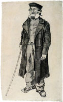 Vincent van Gogh Orphan Man with Long Overcoat and Stick
