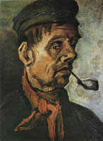Vincent van Gogh Peasant with pipe, head