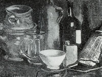 Vincent van Gogh Still life with pots, jar, and bottle