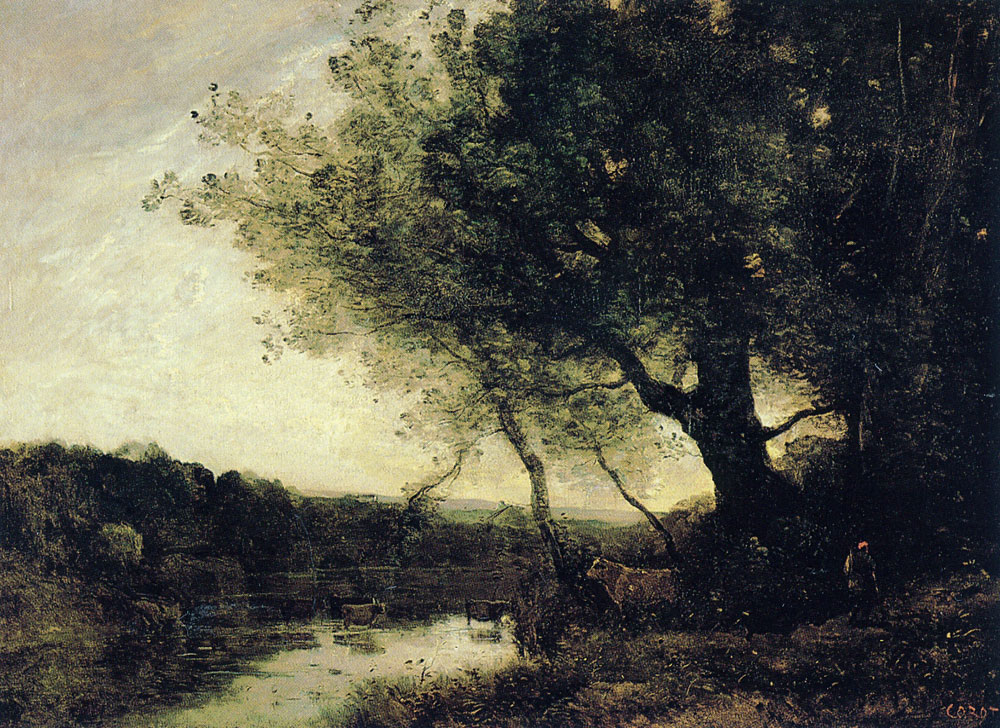 Jean Baptiste Camille Corot - Passing the ford in the evening
