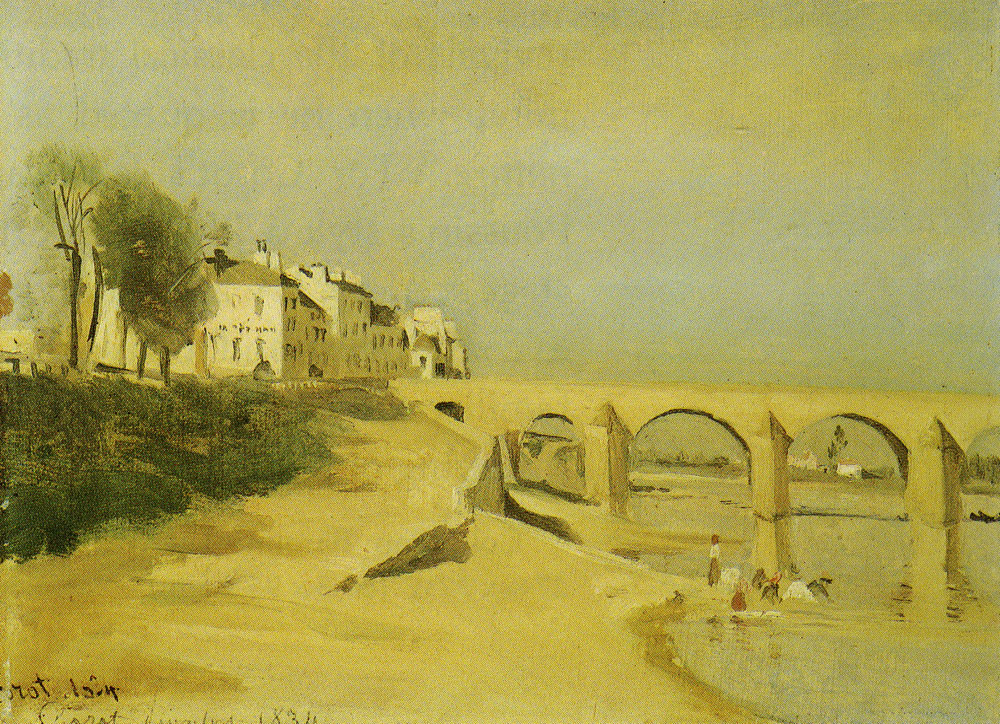 Jean Baptiste Camille Corot - River scene with bridge