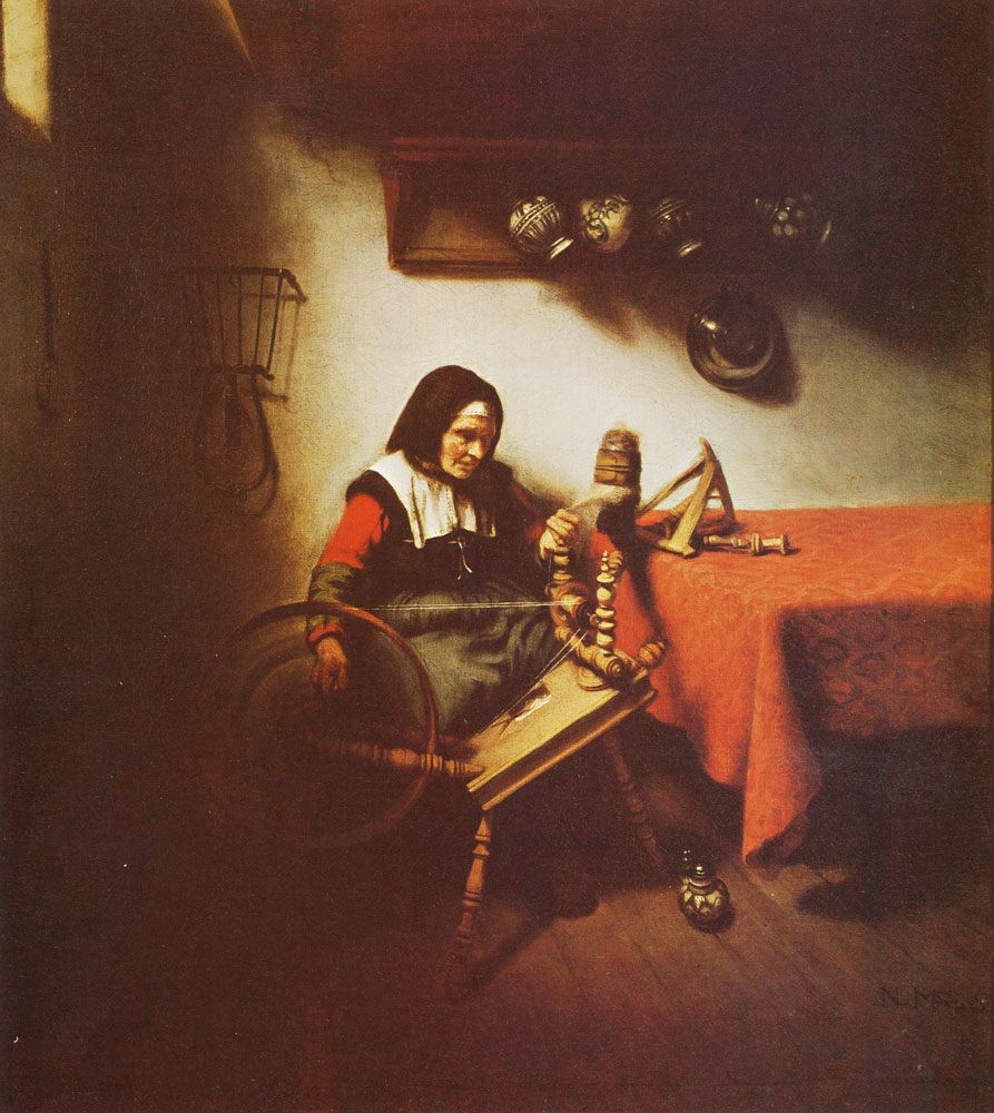 Nicolaes Maes - Woman spinning