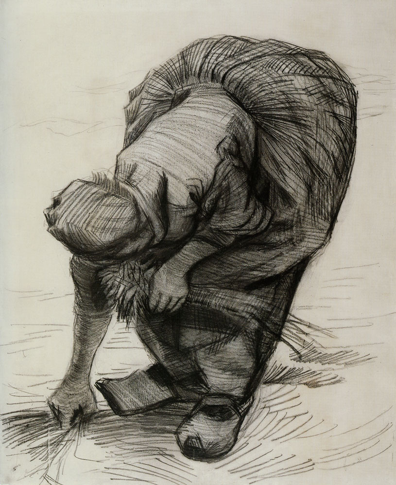 Peasant Woman, Stooping, Seen from the Back - Vincent van