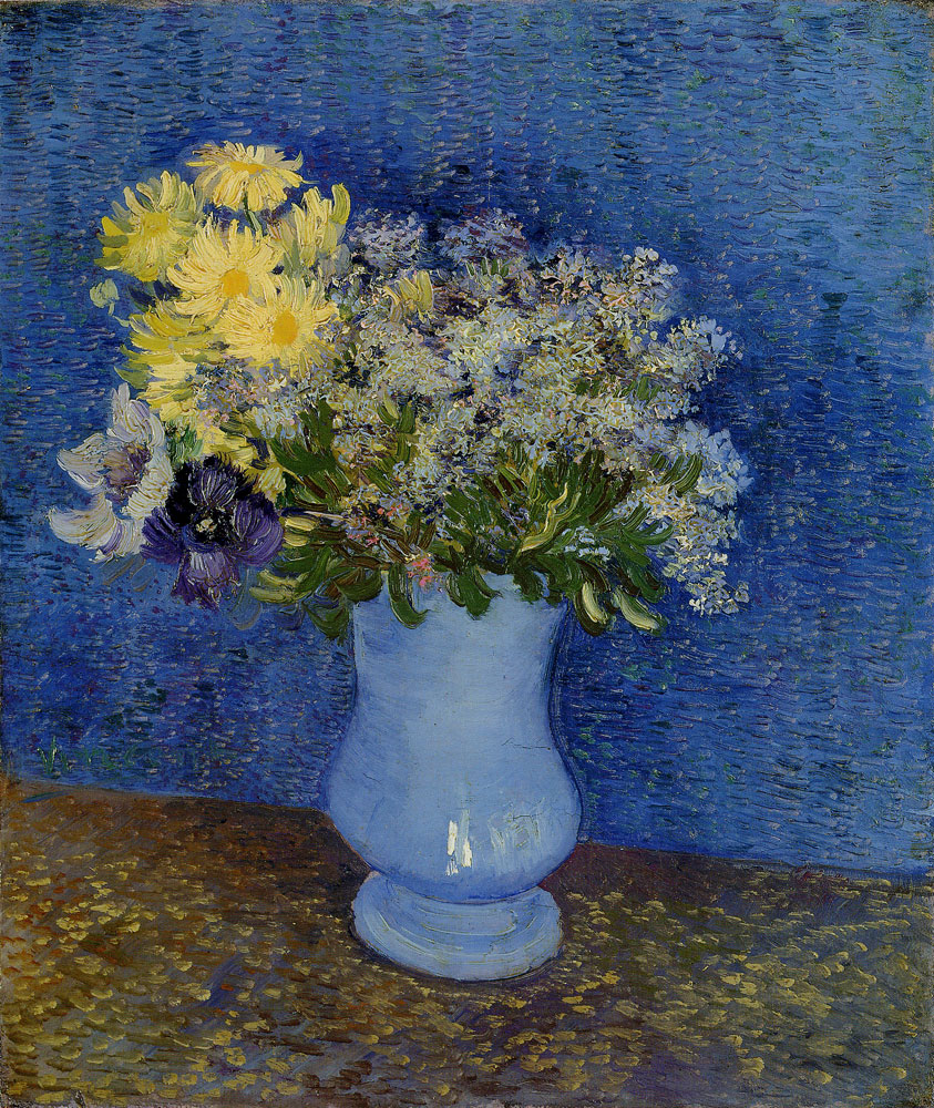 Vincent van Gogh - Bouquet of flowers in a blue vase