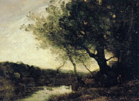 Jean Baptiste Camille Corot Passing the ford in the evening