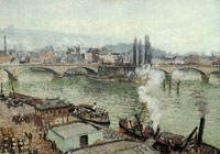 Camille Pissarro The stone bridge at Rouen. Dull weather