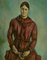 Paul Cézanne Madame Cézanne in a Red Dress