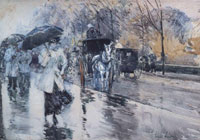 Childe Hassam Rainy day on Fifth Avenue, New York