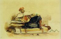 Eugène Delacroix Caid reclining on a sofa