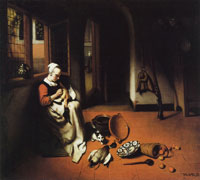 Nicolaes Maes Woman Plucking a Duck