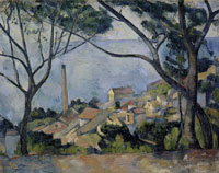 Paul Cézanne The sea at L'Estaque behind trees