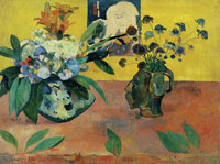 Paul Gauguin - Self-Portrait Jug with Japanese Print and Flowers