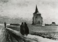 Vincent van Gogh The old tower of Nuenen with people