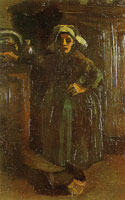 Vincent van Gogh Peasant woman standing in a room