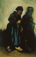 Vincent van Gogh Peasant Woman, Sweeping the Floor
