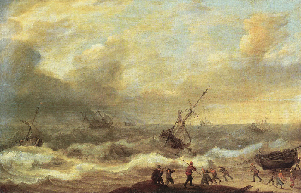 Adam Willaerts - Stormy sea with ships