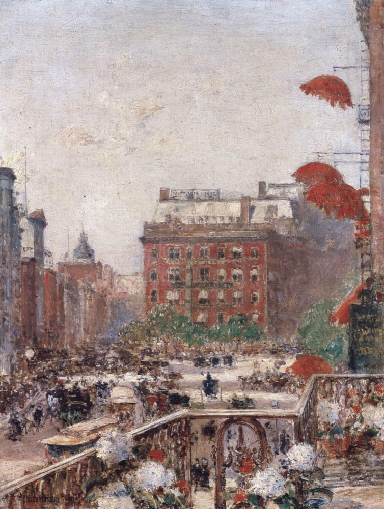 Childe Hassam - View of Broadway and Fifth Avenue