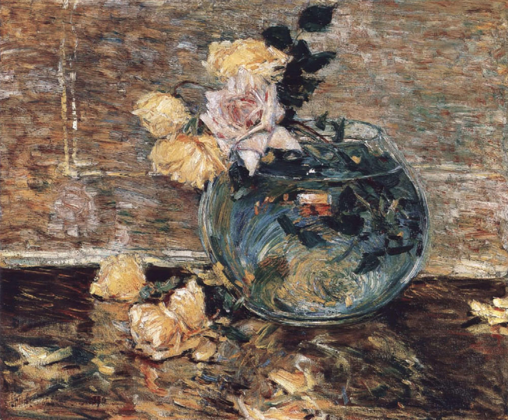 Childe Hassam - Roses in a vase