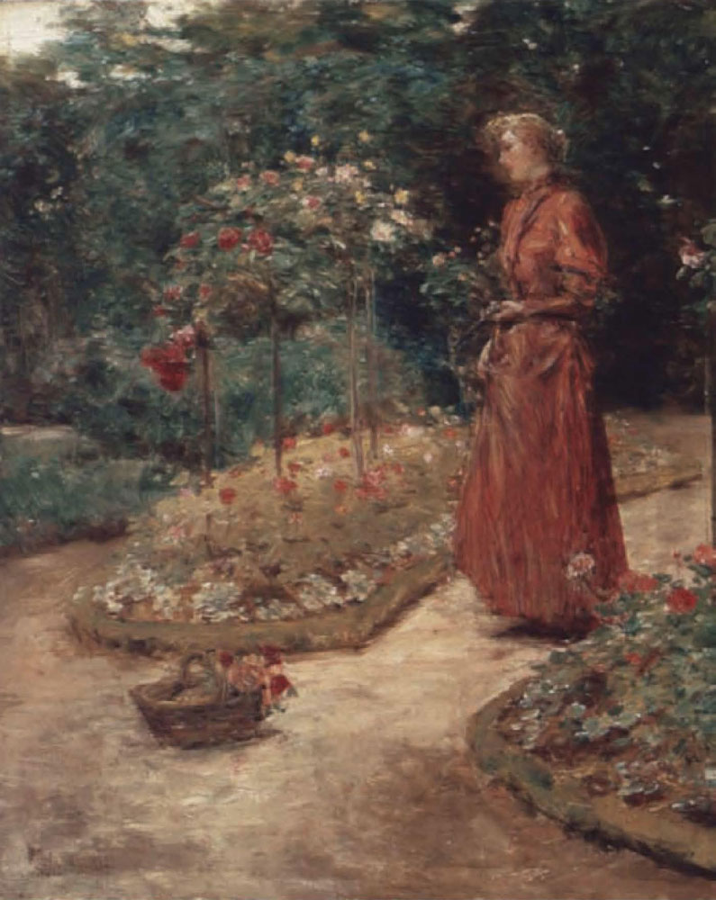 Childe Hassam - Woman Cutting Roses in a Garden