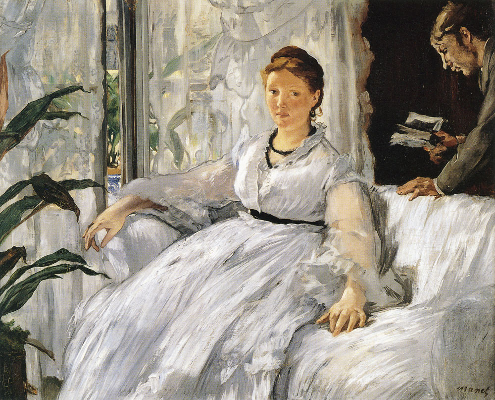 Edouard Manet - Reading, Madame Manet and her Son Leon Koella-Leenhoff