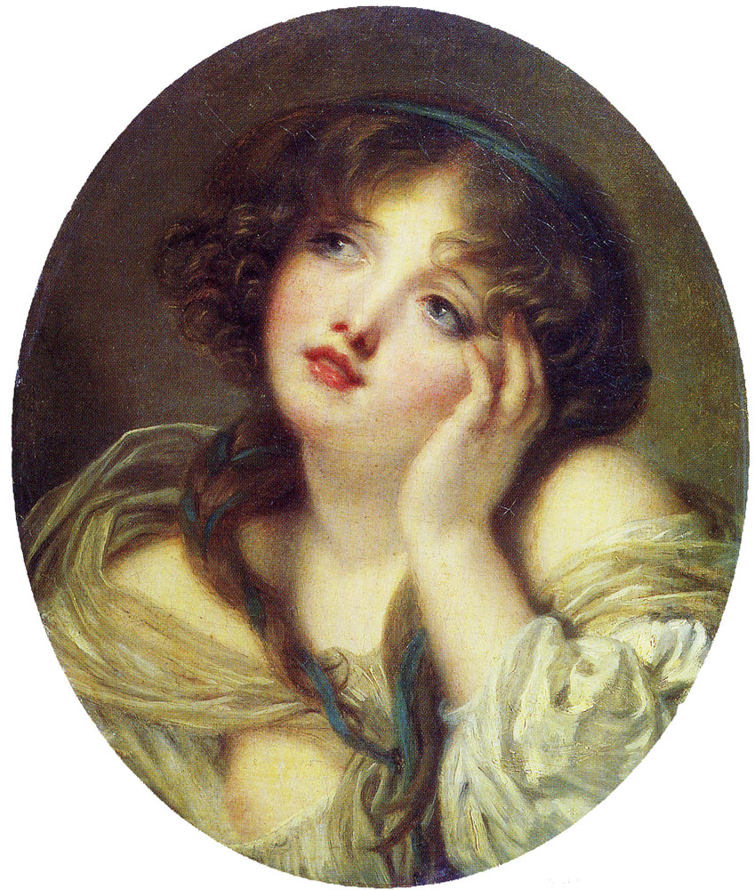 Ascribed to Jean-Baptiste Greuze - Girl leaning on her Hand