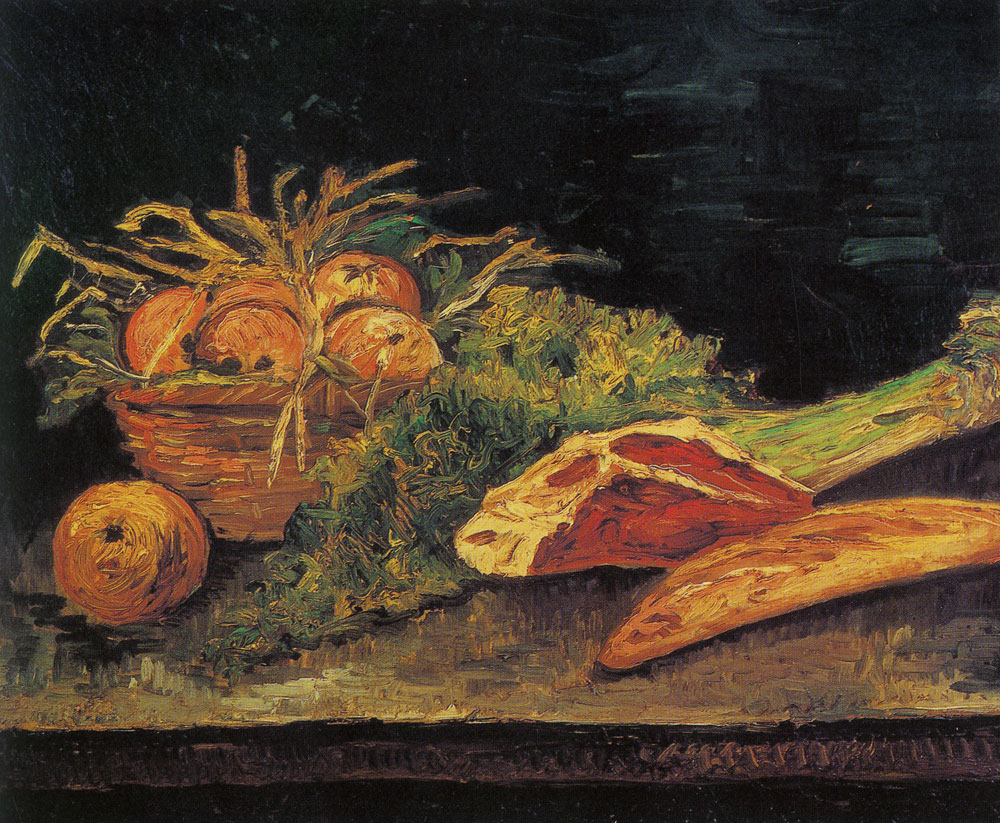 Vincent van Gogh - Still life with apples, meat, and a roll