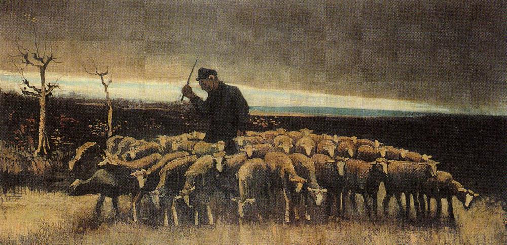 Vincent van Gogh - Shepherd with flock of sheep