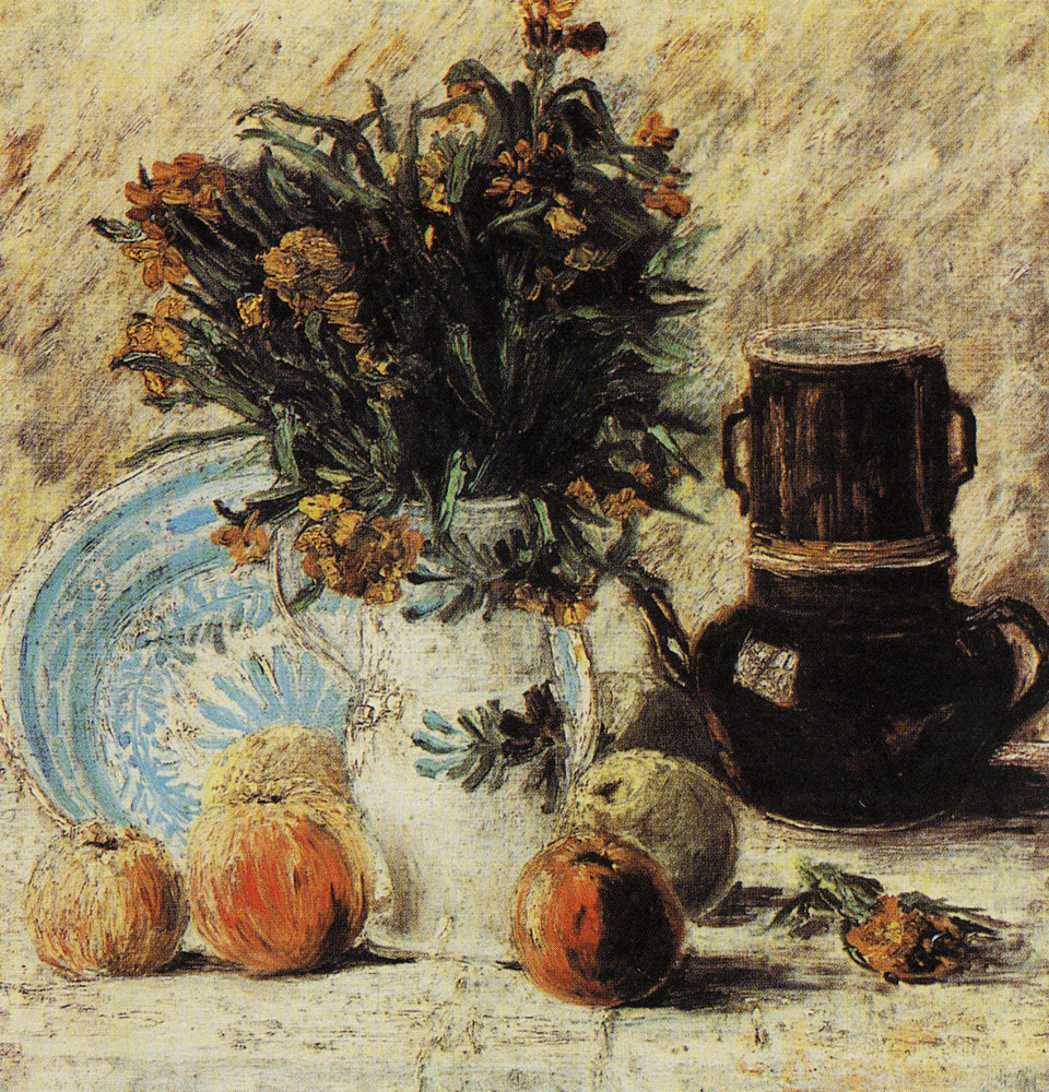 Vincent van Gogh - Vase with flowers, coffee pot, and fruit