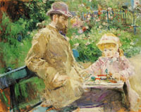 Berthe Morisot Eugene Manet with his Daughter at Bougival