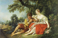 François Boucher Shepherd piping to a Shepherdess