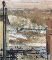 Childe Hassam The hovel and the skyscraper