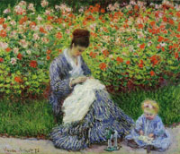 Claude Monet Camille Monet and a Child in the Artist's Garden in Argenteuil